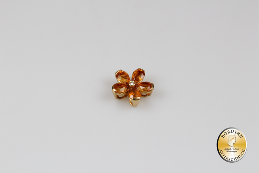 Anhänger; 18 Karat Gold mit kleinem Brillant und Goldtopas, antik