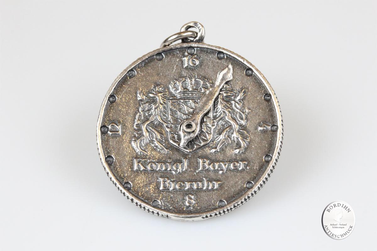 Anhänger Sterling Silber Bieruhr König Ludwig II Münze Trachtenschmuck