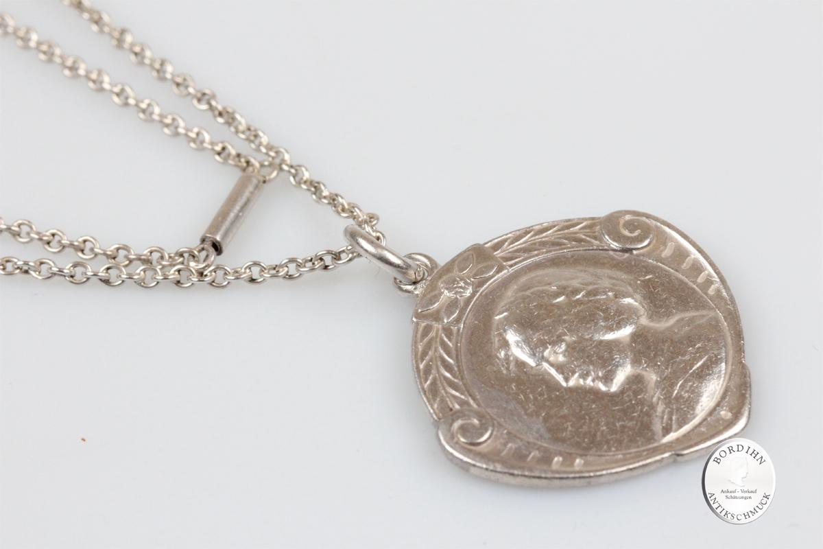 Anhänger Silber mit Kette Jugendstil Frauenkopf antik Schmuck Collier