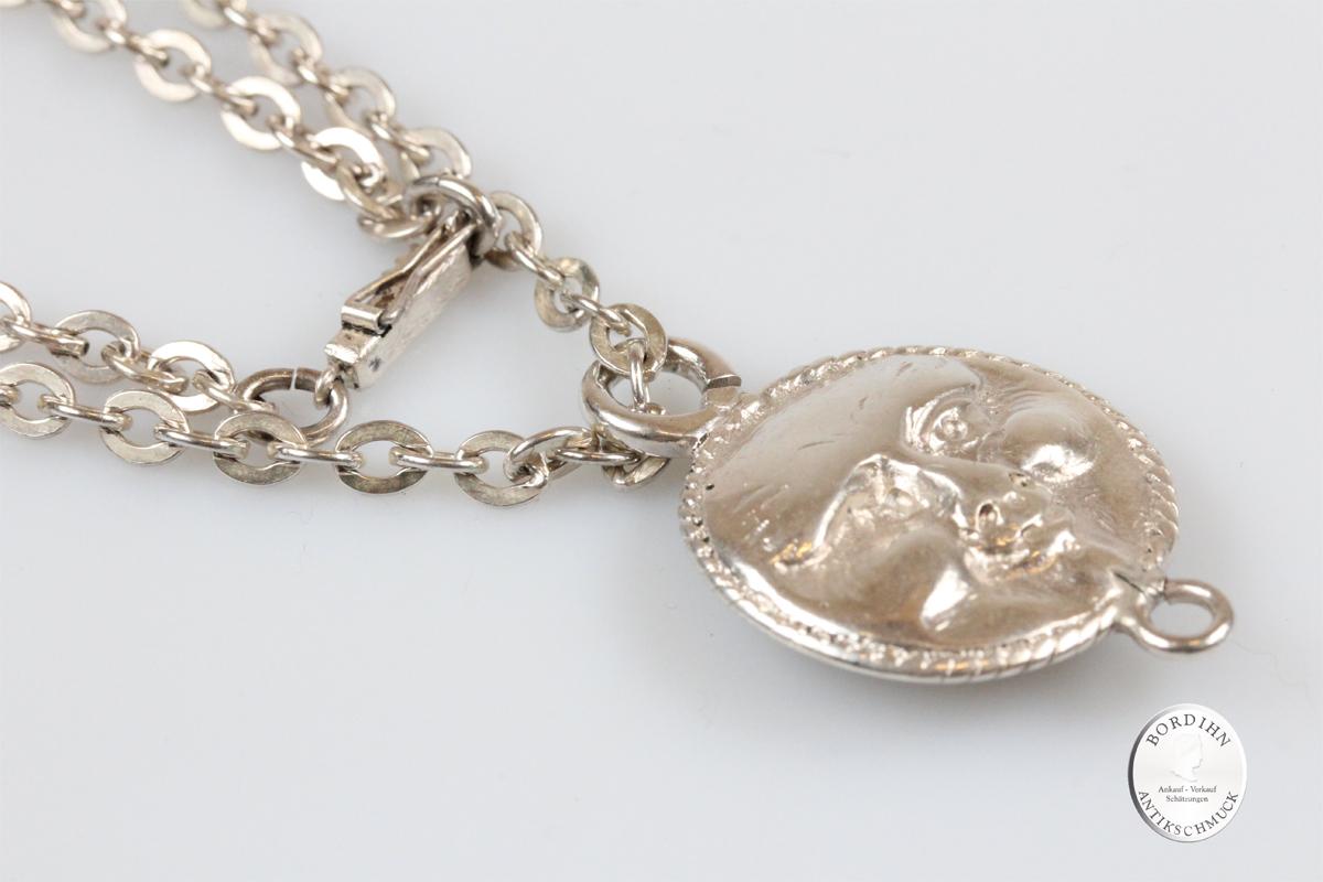 Anhänger Silber Collier Gesicht Schmuck Halskette Damen Geschenk