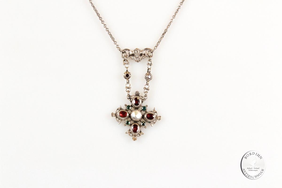 Collier Silber Granat Perlmutt Halskette Schmuck Trachtenschmuck antik