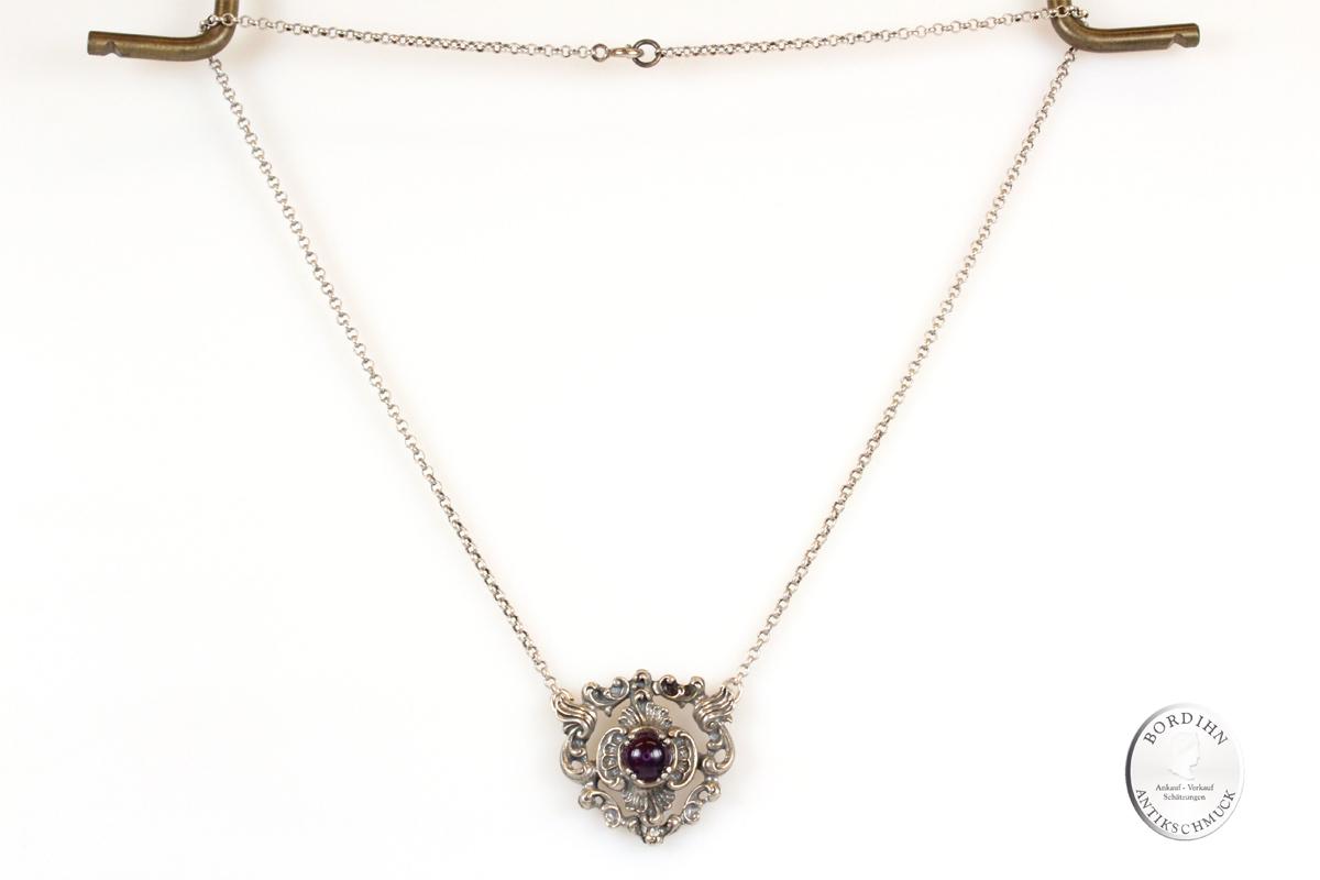 Collier Silber Amethyst Halskette Schmuck Trachtenschmuck Damen Tracht