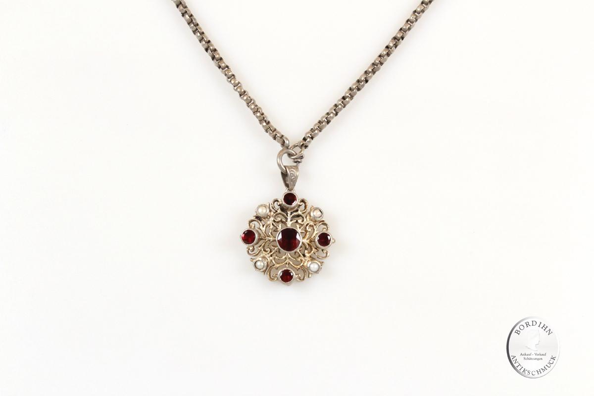 Collier Silber Granate Perlchen Halskette Trachtenschmuck Damen antik