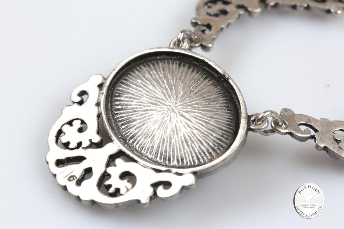 Collier 835 Silber Koralle Halskette Trachtenschmuck Damen Geschenk