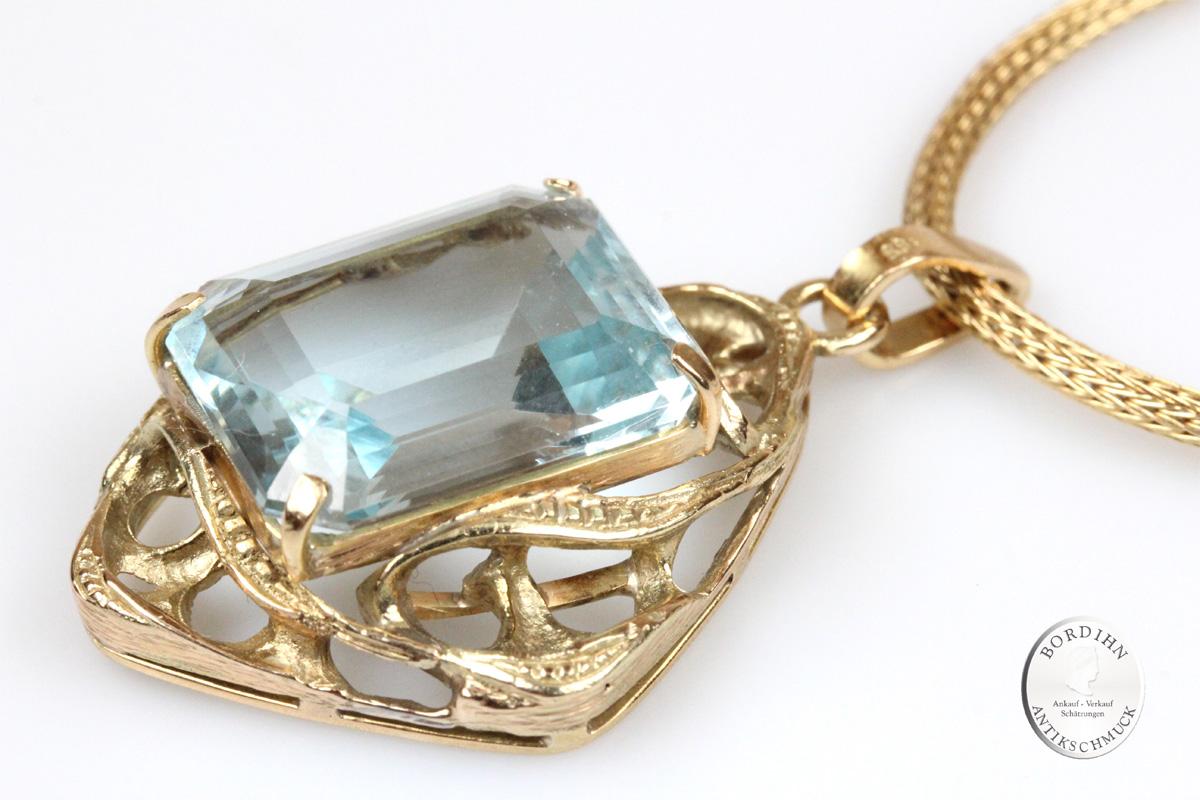 Anhänger mit Goldkette 14 Karat Gold Aquamarin Collier Schmuck Damen