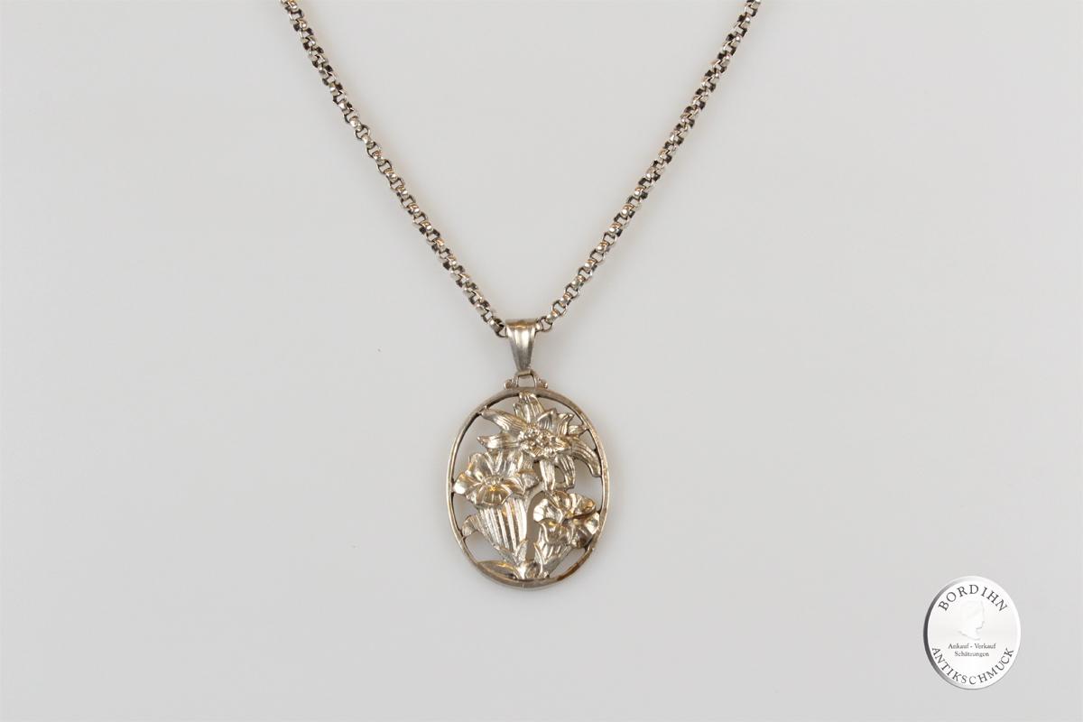 Anhänger 800 Silber Collier Kette Edelweiß Halskette Trachtenschmuck