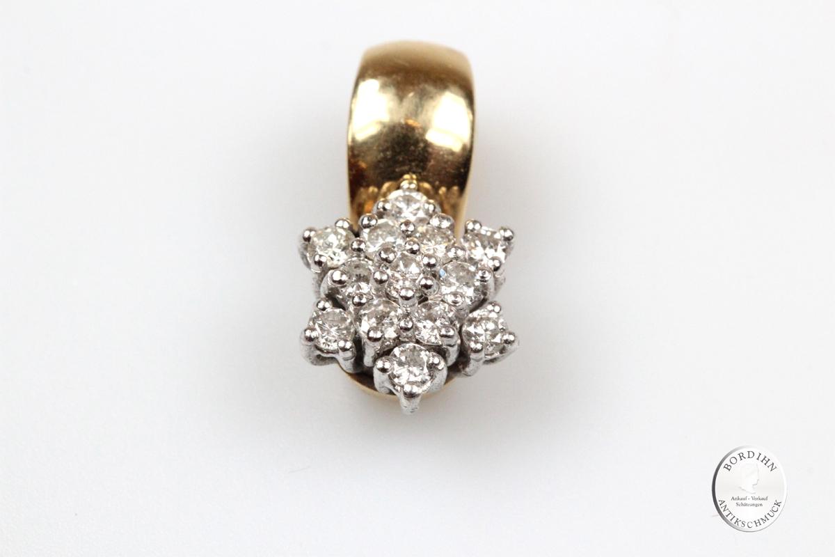 Anhänger 14 Karat Gold 13 Brillanten Clip für Kette Gelbgold Geschenk