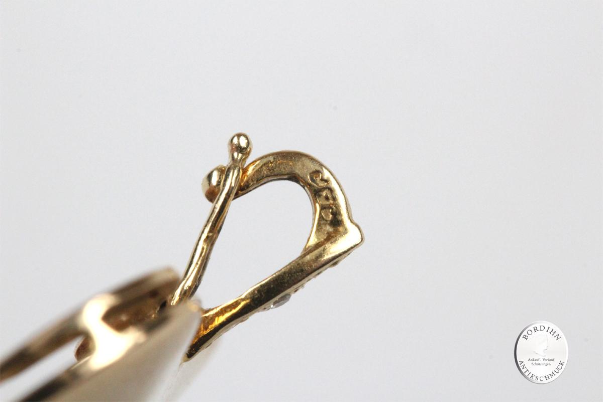 Anhänger 14 Karat Gold Blautopas Herz Diamanten Schmuck Damen Geschenk