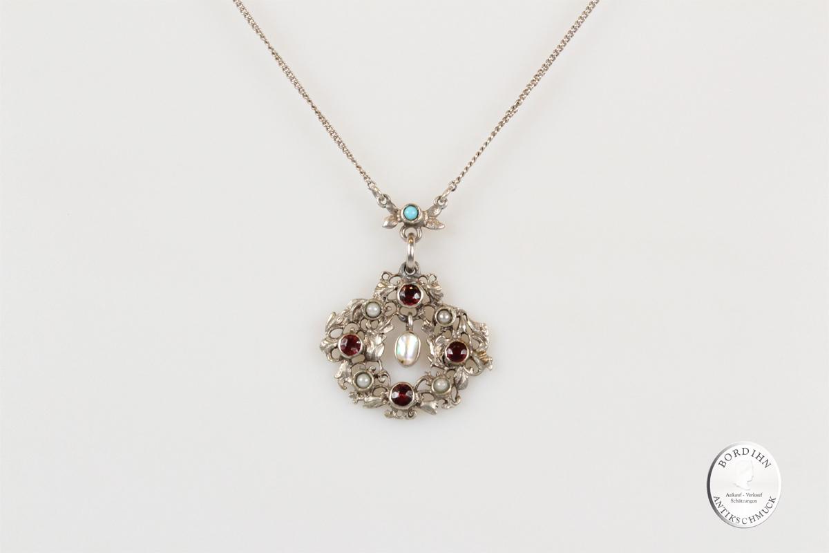 Collier Silber Granat Türkis Perle Halskette Trachtenschmuck Damen