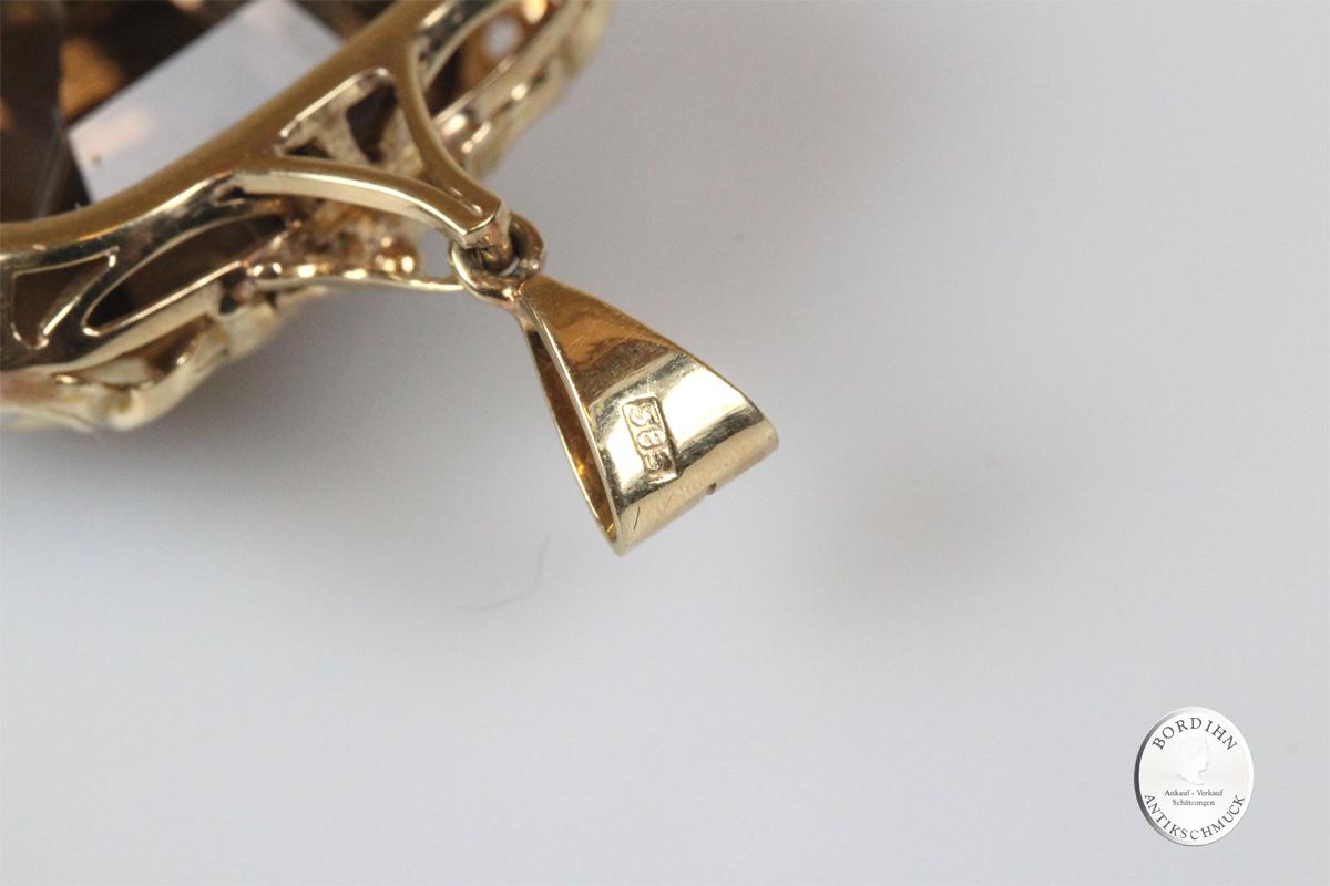 Anhänger 14 Karat Gold mit Rauchquarz Goldschmuck Schmuck Damen antik