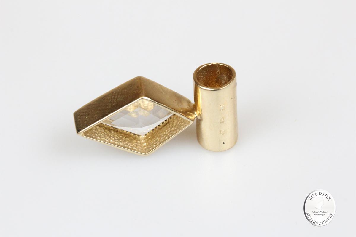 Anhänger 9 Karat Gold Aquamarin weiss Beryll Goldschmuck Edelstein