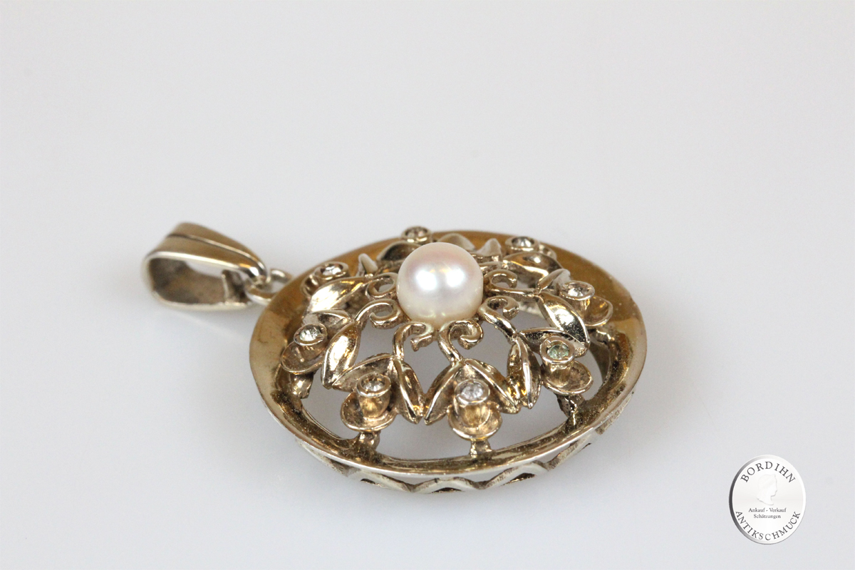 Anhänger 835 Silber vergoldet Perle Diamant Antik Schmuck Geschenk