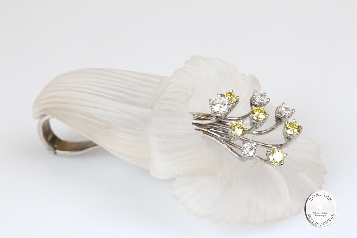 Anhänger 18 Karat Weißgold Gold Glocken Blume 9 Diamanten Goldschmuck
