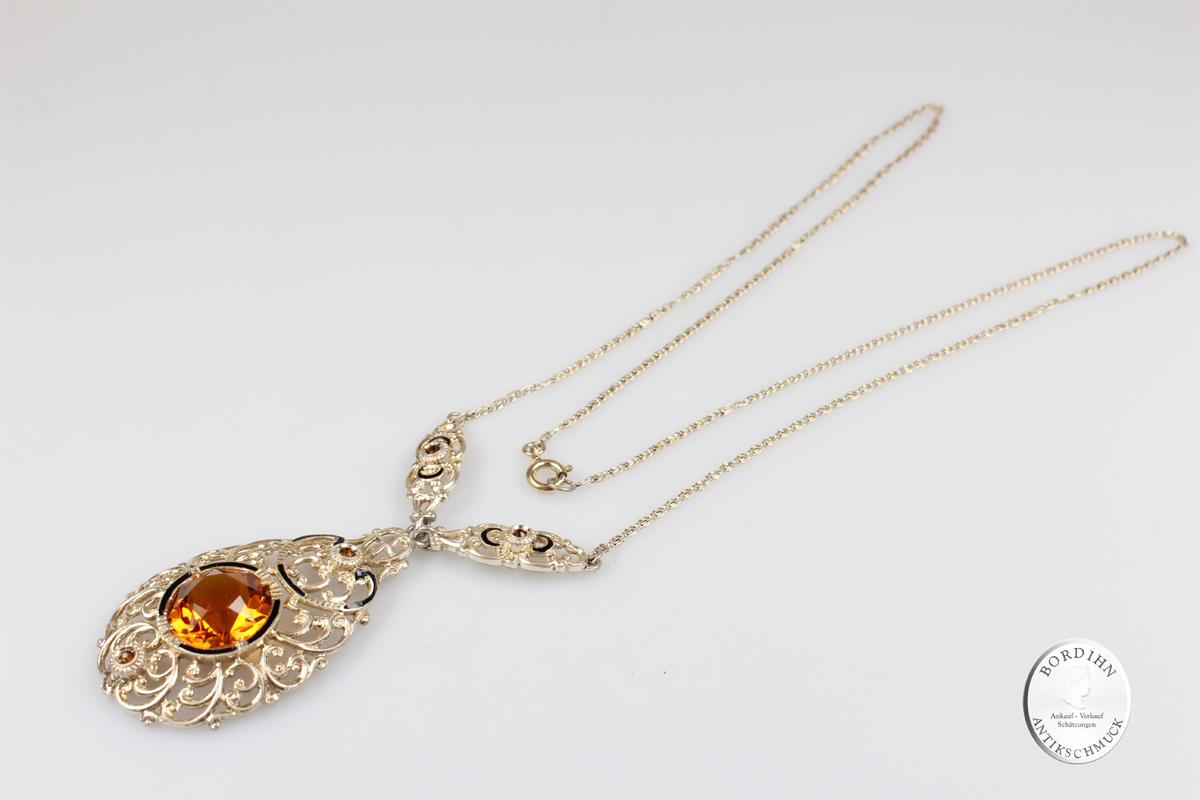 Collier Silber gelber Farbstein Schmuck Anhänger Kettchen Damen antik