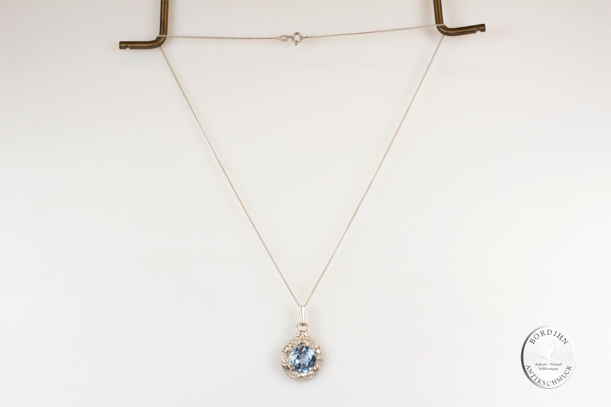 Collier Silber 835 Kettchen blauer Farbstein Anhänger Schmuck Damen