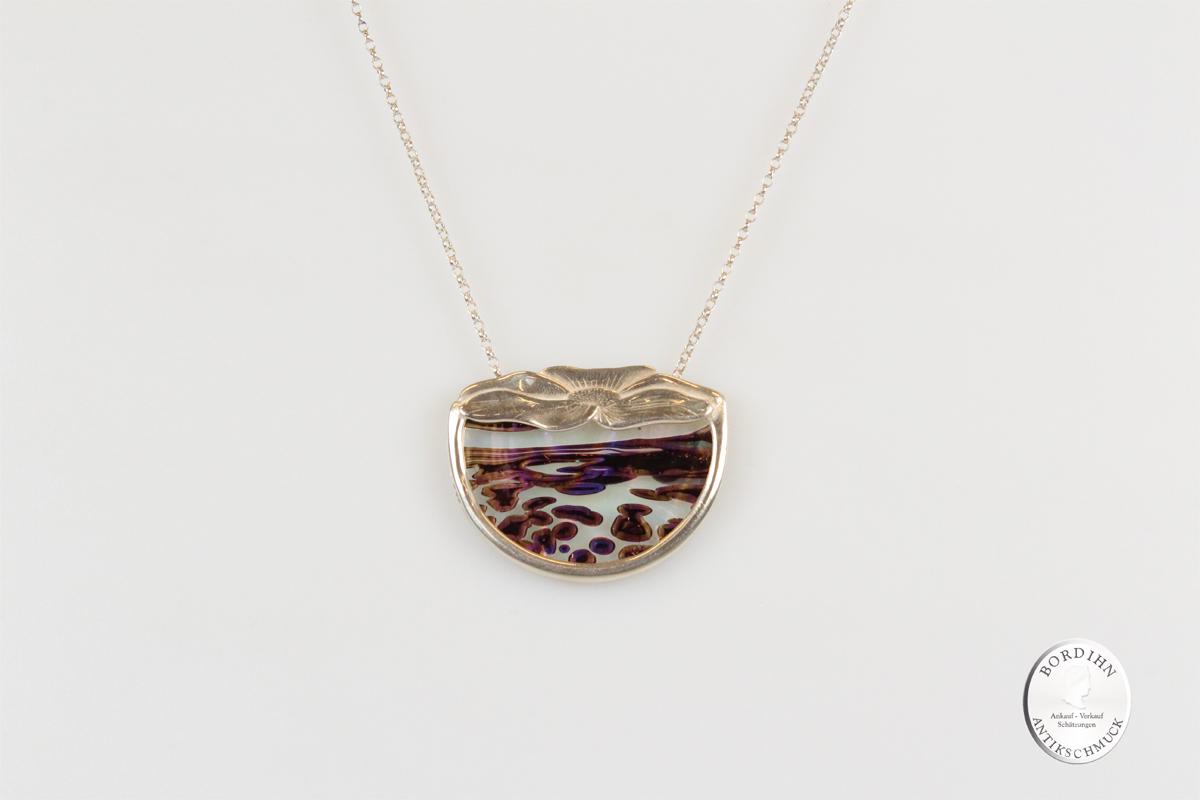 Collier Silber Glasfluss Schmuck antik Kettchen Anhänger Schmuck Damen