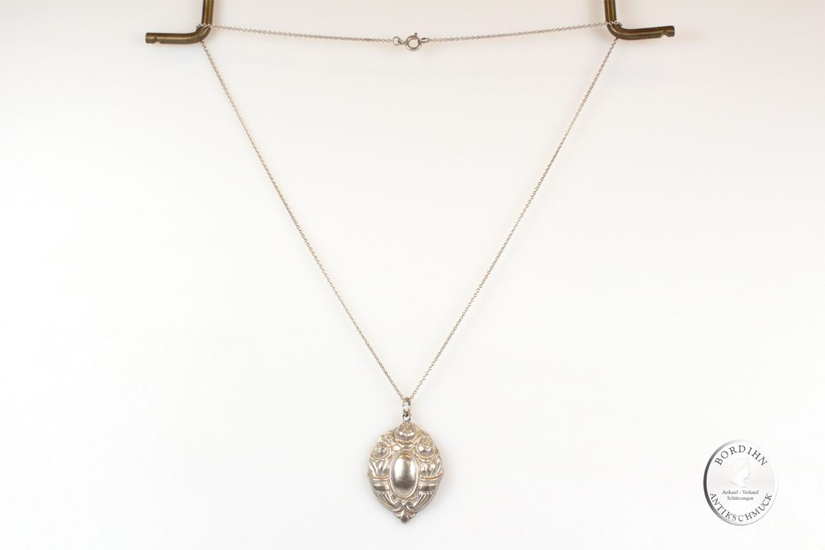 Collier Silber Rosen Ornament Halskette Anhänger Trachtenschmuck Damen