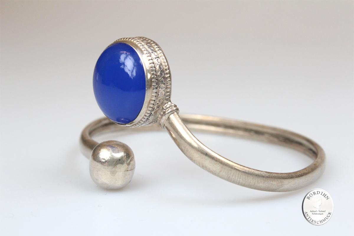 Armreif Sterling Silber mit blauem Stein Silberkugel Armband Schmuck