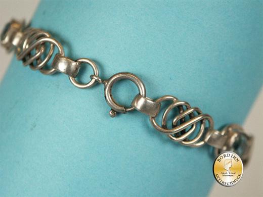 Armband; Silber 830, 3 kleine Steine