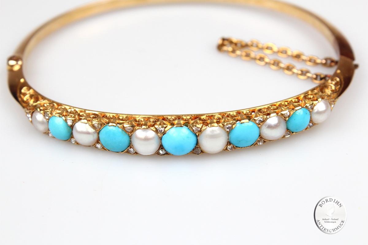 Armreif 14 Karat Gold Perlen Türkise Diamanten Armschmuck Antikschmuck