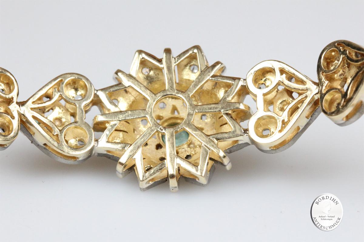 Armband 14 Karat Gold Diamant Smaragd Armschmuck Edelstein Damen antik