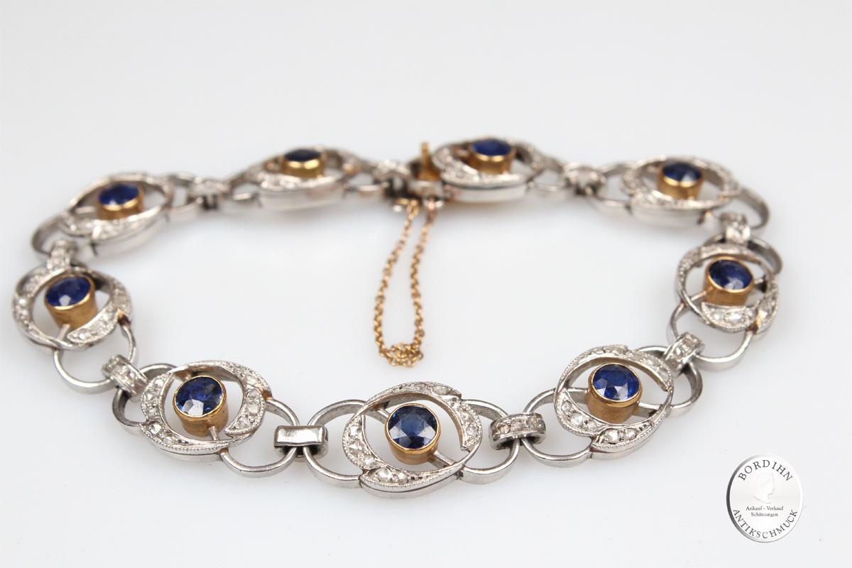 Armband 18 Karat Gold Saphire Brillanten Armkette antik Schmuck Damen
