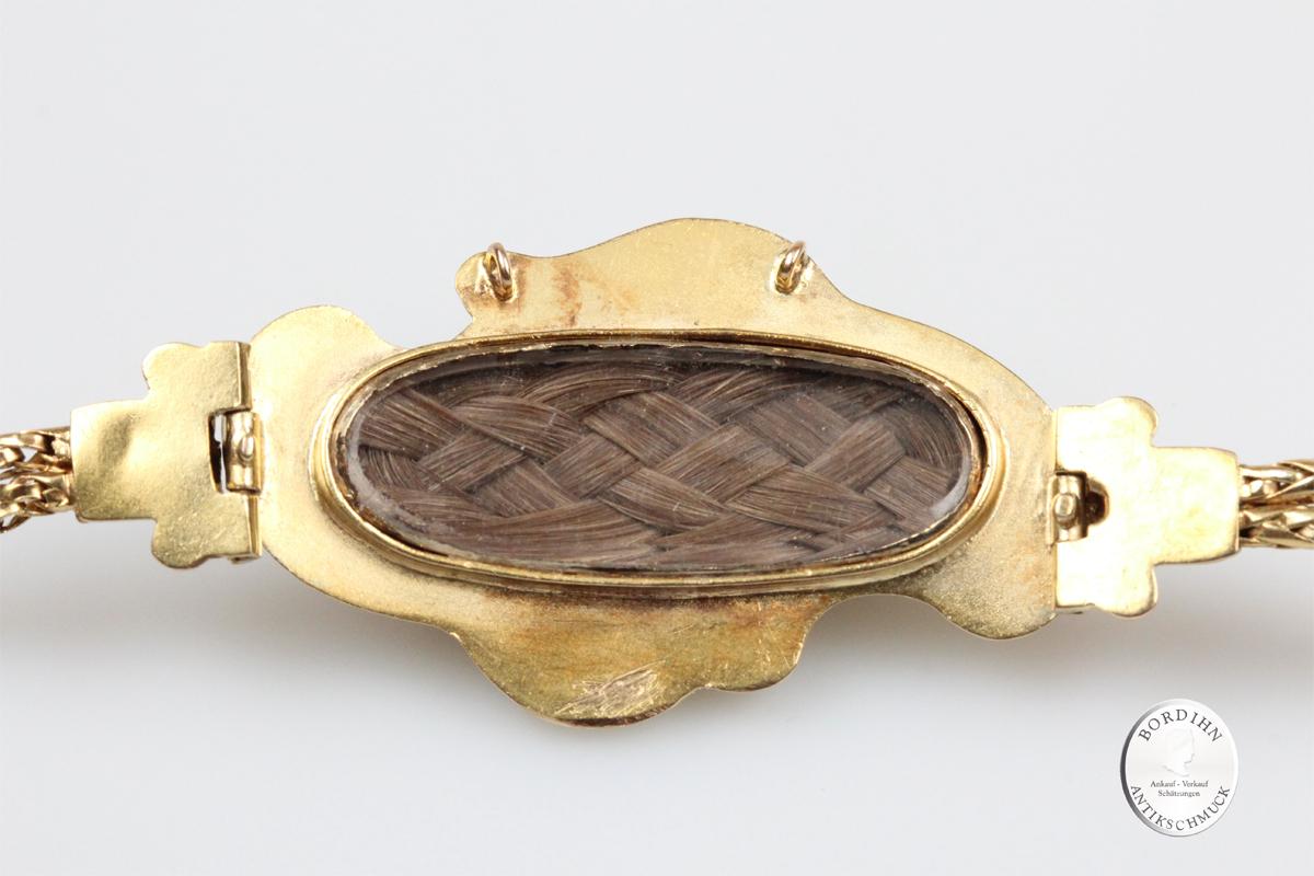 Armband 15 Karat Gold Biedermeier Emaille Perlen Goldschmuck Geschenk