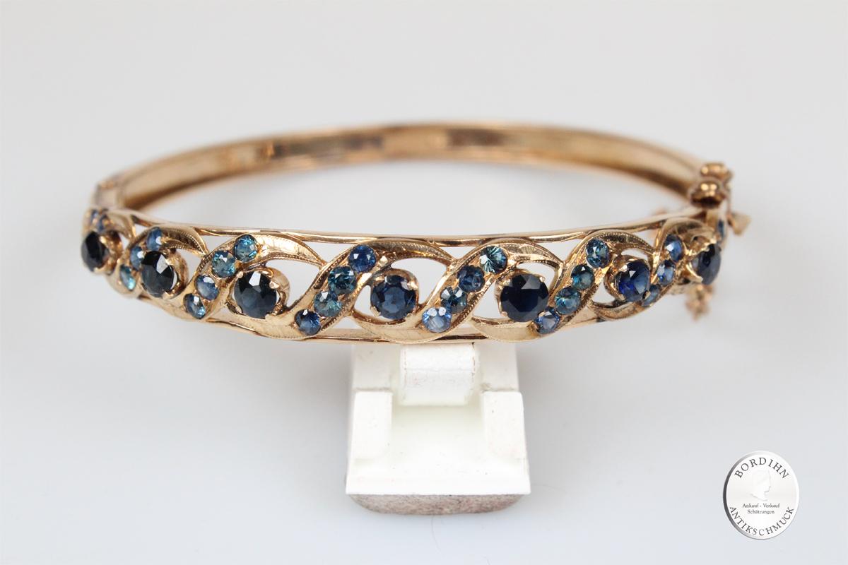 Armreif 14 Karat Gold Saphir Armschmuck Armband Edelsteine Damen