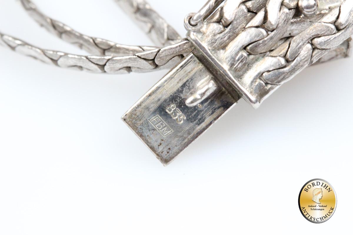 Armband; Silber (835), mit drei Strängen