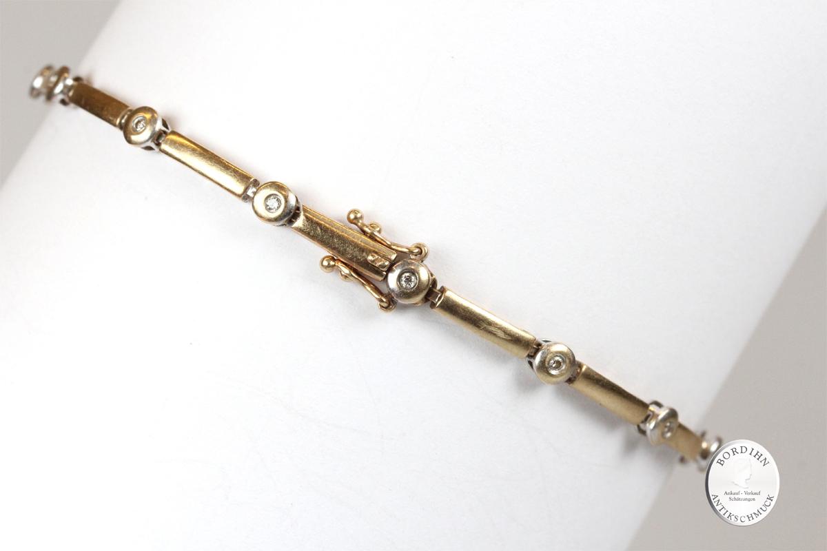 Armband 14 Karat Gold Brillanten Armkettchen Tennis Schmuck Diamanten