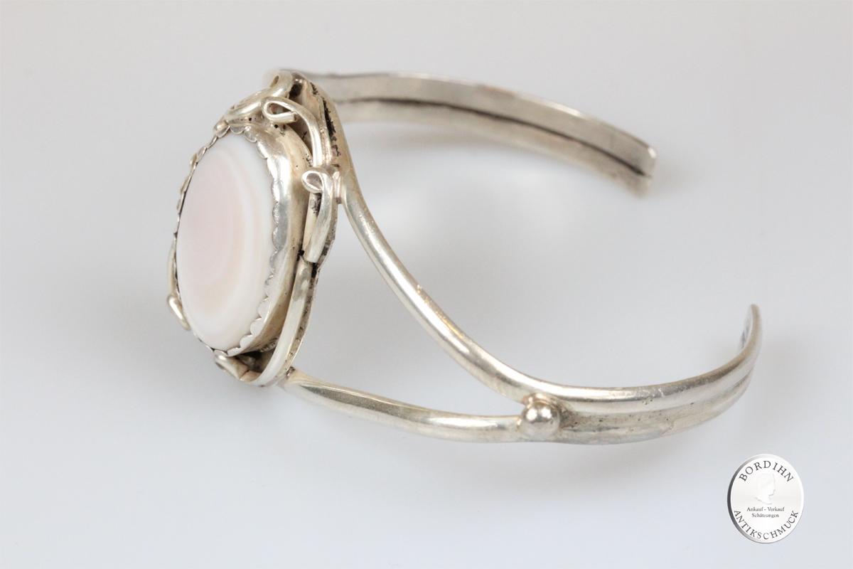 Armspange 925 Silber im Jugendstil Perlmutt Armreif Armband Schmuck