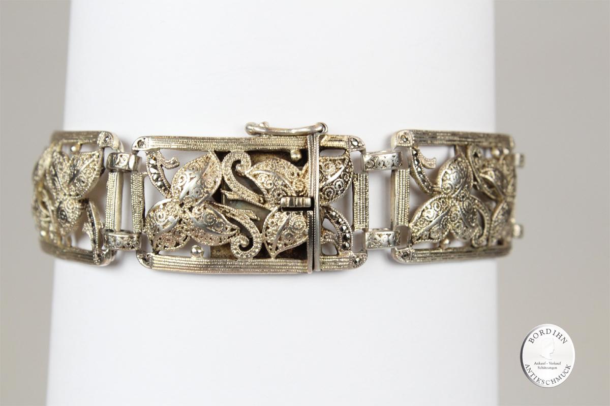 Armband 925 Silber Blätter guillochiert Theodor Fahrner Schmuck antik