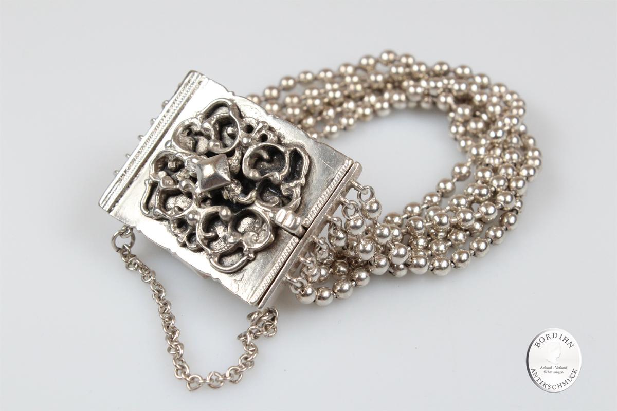 Armband Silber Kugelstränge Kastenschloß Silberschmuck Tracht Damen
