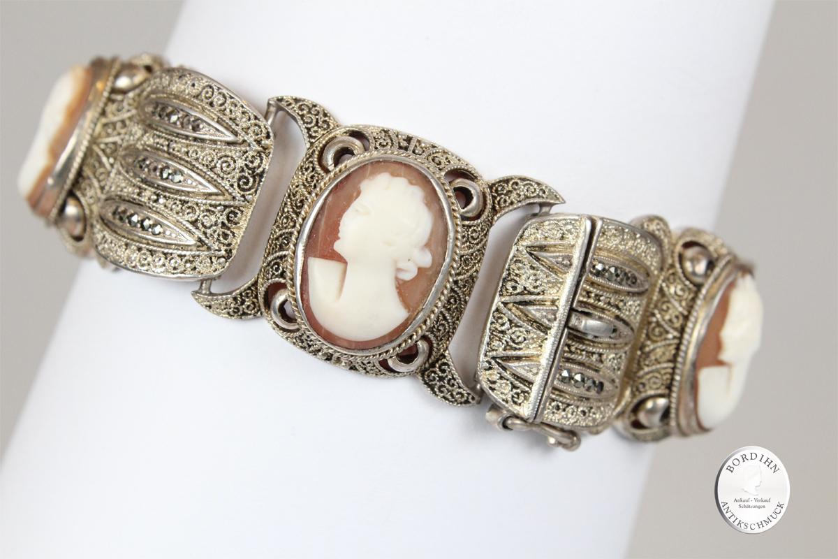 Armband 925 Silber Gemmen guillochiert Theodor Fahrner Schmuck antik