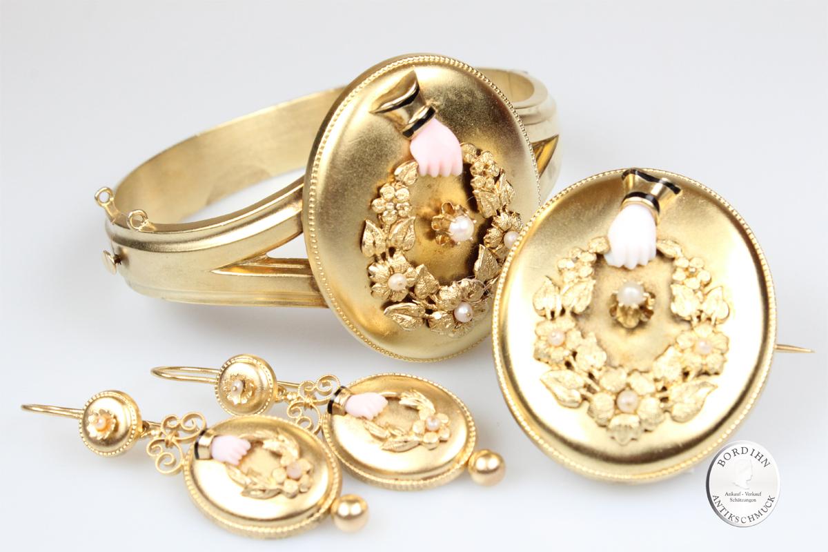 Schmuckset 14 Karat Gold Armreif Brosche Ohrringe Antik Goldschmuck