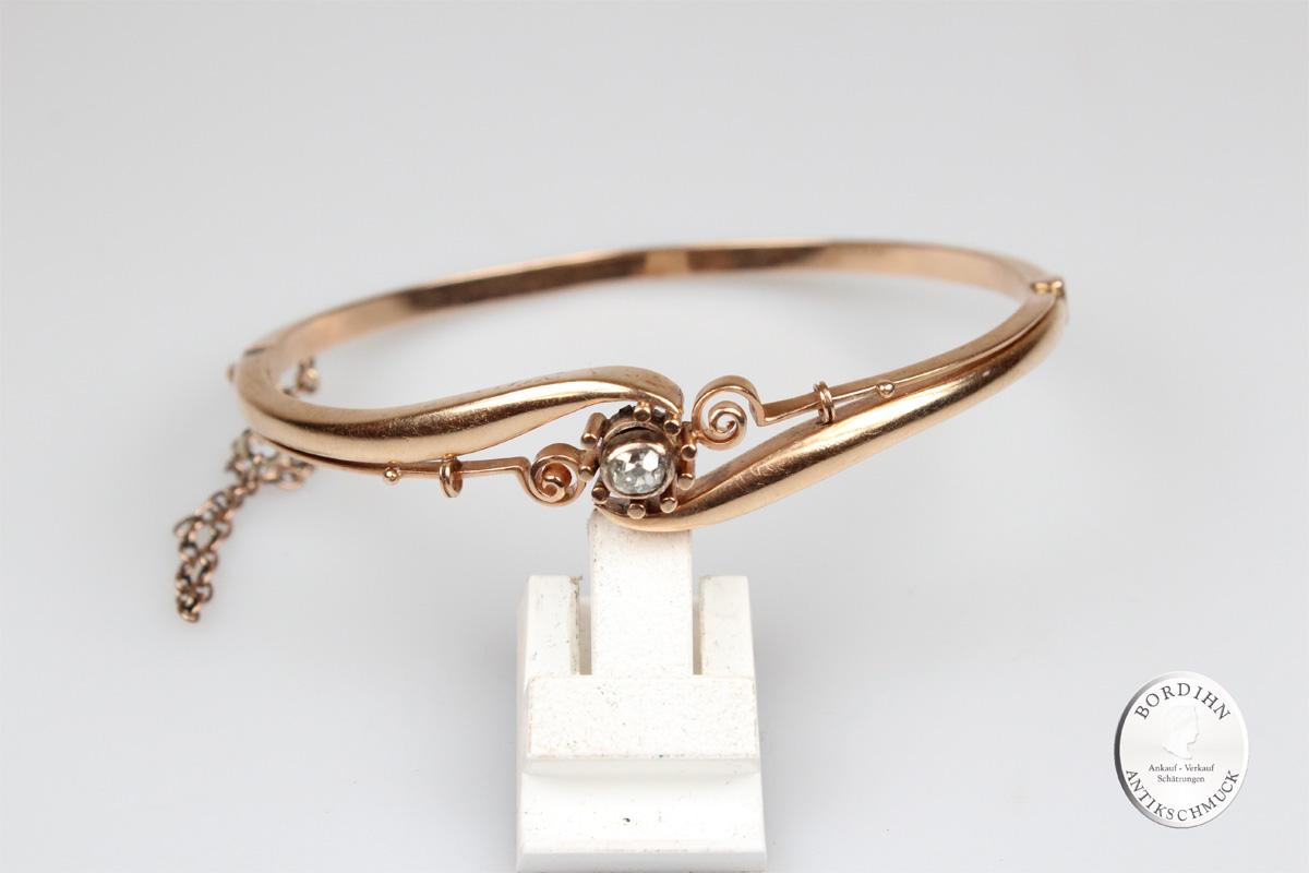 Armreif 14 Karat Gold Diamant Armschmuck Goldschmuck Damen antik