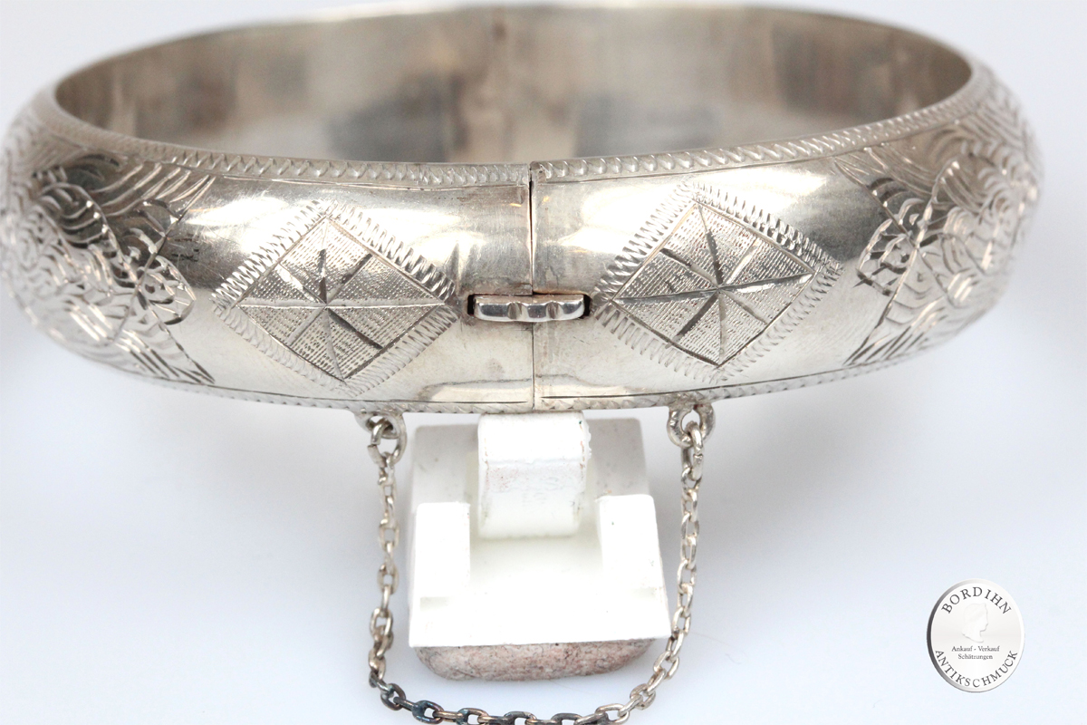 Armreif 925 Sterling Silber hohl verziert Schmuckreif Silberreif