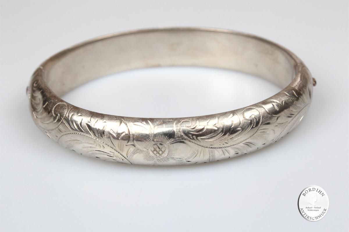 Armreif 835 Silber ziseliert mit Gelenk Armschmuck Silberreif antik