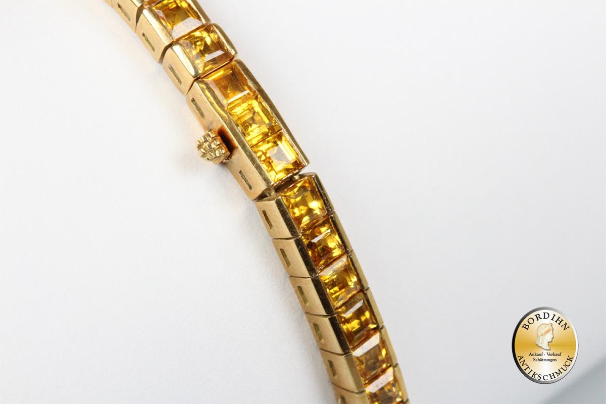 Armband 18 Karat Gold gelbe Safire Edelsteine Goldschmuck Safir Damen
