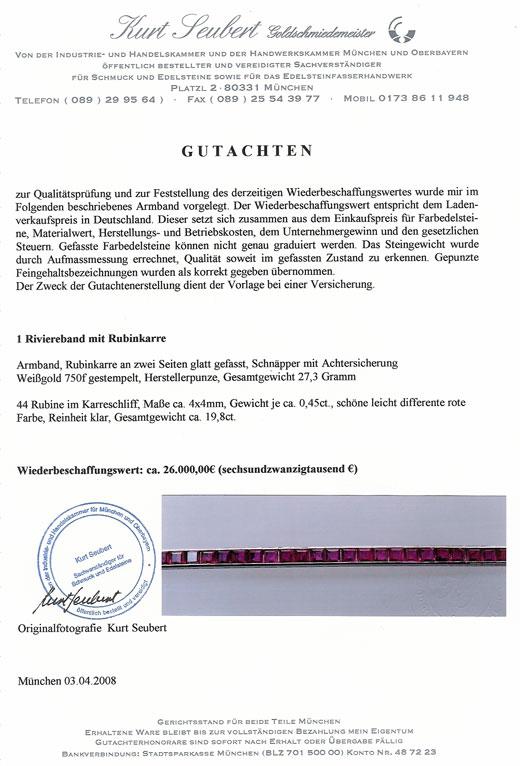 Armband Rubine 18 Karat Weissgold Edelsteine Goldschmuck Rubin Damen