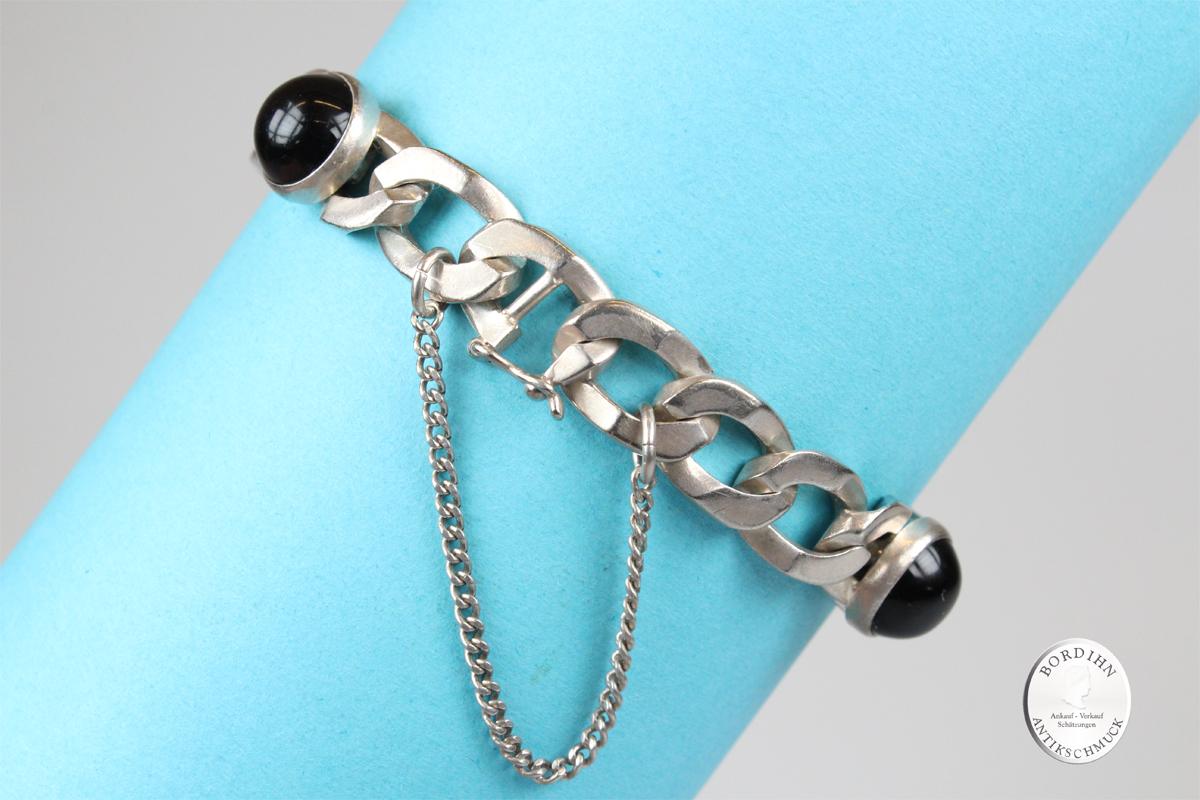 Armband 835 Silber vier Onyx Steine Armkette Gliederkette Schmuck