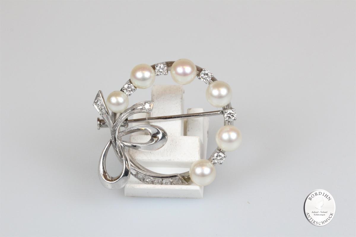 Brosche 18 Karat Weißgold Brillanten und Perlen antik Schmuck Damen