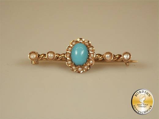 Brosche 14 Karat Gold mit Türkis und Perlchen antik Schmuck Damen Gold
