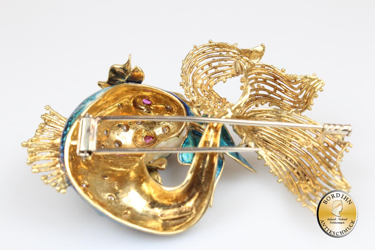 Brosche 18 Karat Gold emailliert Brillanten Rubine Goldschmuck Damen