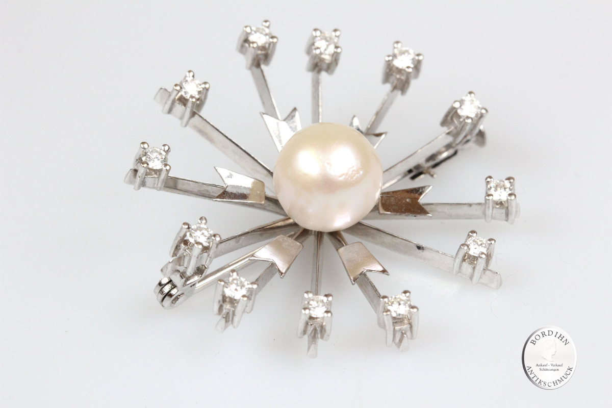 Brosche 14 Karat Weißgold Perle Brillanten Goldschmuck Schmuck Damen