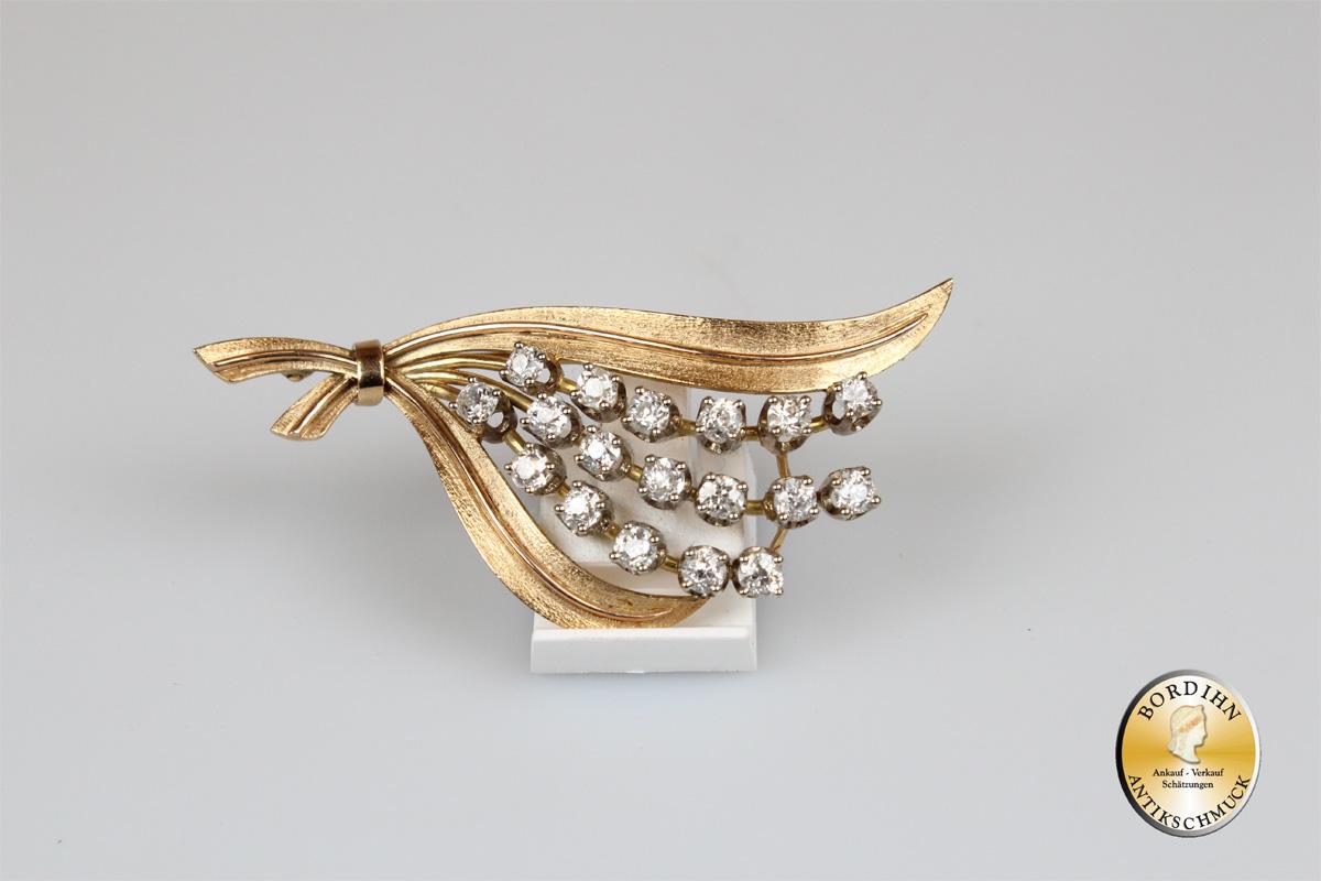 Brosche 14 Karat Gold Brillanten Goldschmuck Diamanten Damen Geschenk