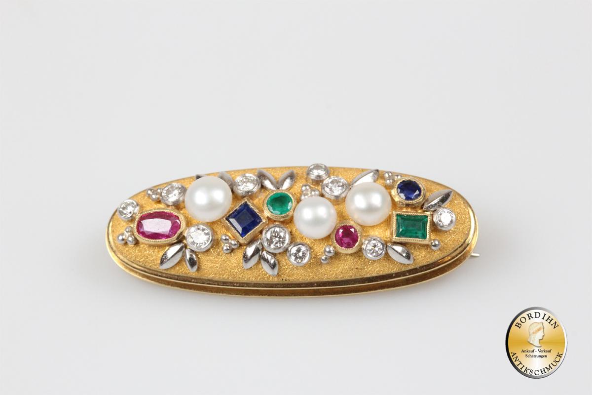 Brosche 18 Karat Gold Platin Brillant Rubin Smaragd Saphir Perle Damen