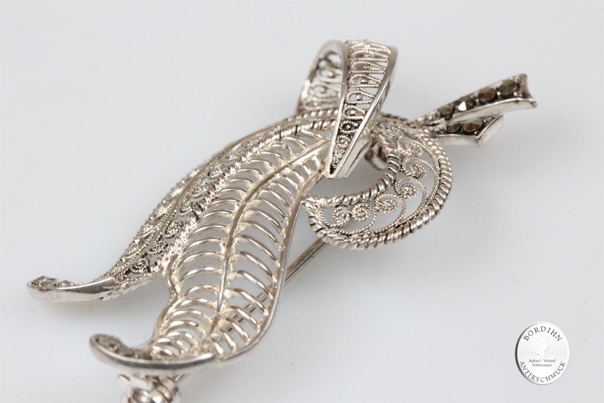Brosche Silber Doppelblatt Markasit Schmuck antik Silberschmuck Damen
