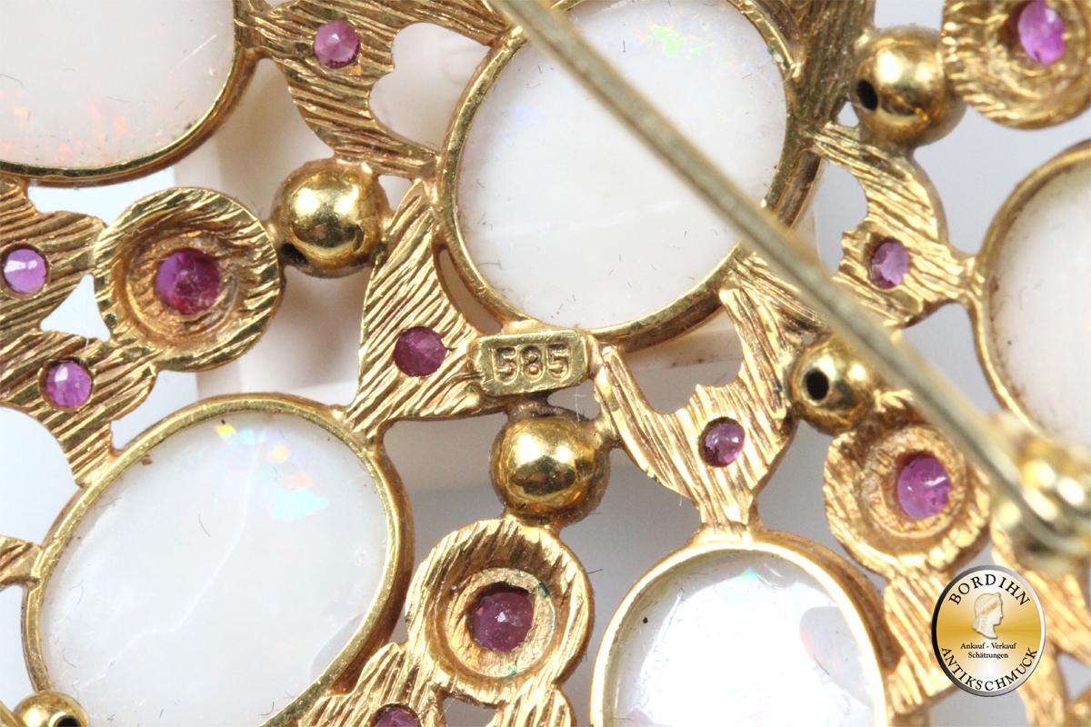 Brosche 14 Karat Gold Opal Rubin Goldschmuck Edelsteinen Damenschmuck