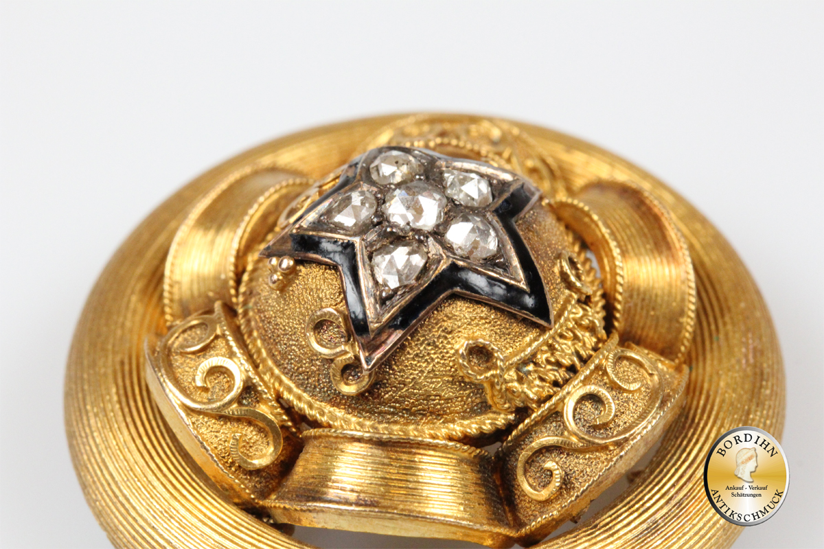 Brosche; 14 Karat Gold, mit Diamanten, Biedermeier, Goldschmuck, Antik